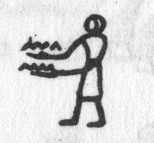 Hieroglyph tagged as: arms extended,hands full,man,offering,person,standing