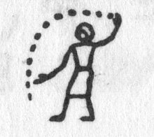 Hieroglyph tagged as: dots,man,person,standing,throwing