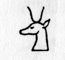 Hieroglyph tagged as: animal part,antelope,head,horns