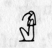 hieroglyph tagged as: animal headed, beak, bird, god, ibis, man, person, sitting, thoth